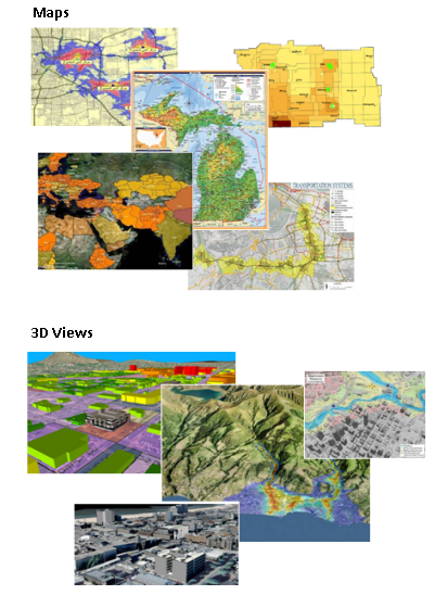 Examples of 2D and 3D maps