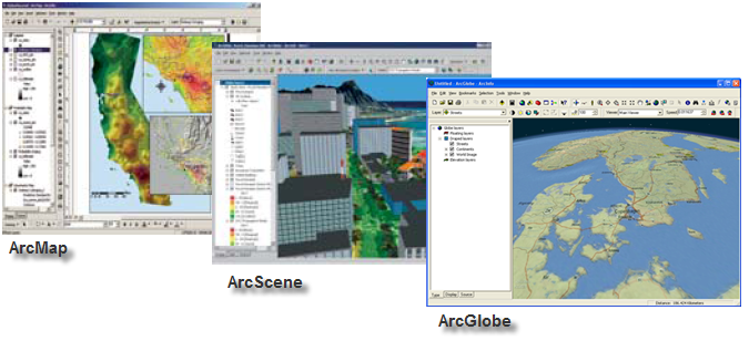 The three primary map applications in ArcGIS Desktop