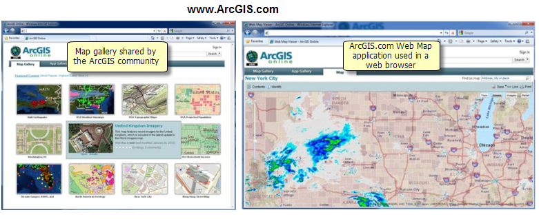 Map gallery and Web map application at ArcGIS.com