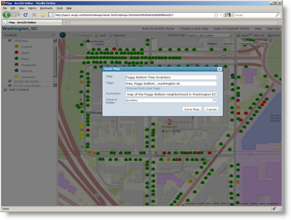 Saving a Web map at ArcGIS.com