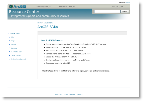 Accessing ArcGIS developer resources