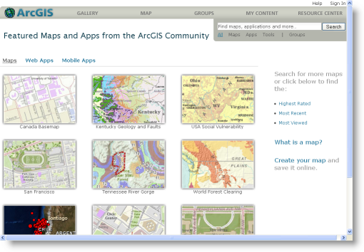 Finding maps in the map gallery at ArcGIS.com