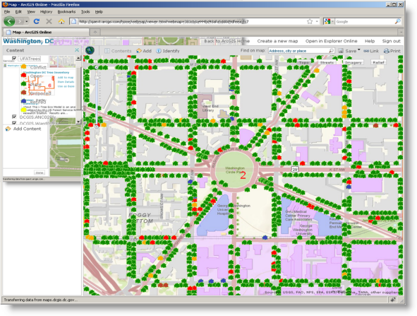 A Web map layer of trees is added to the composite Web map.