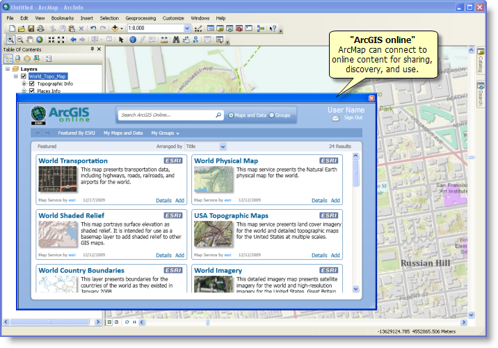 Working with ArcGIS online using ArcMap