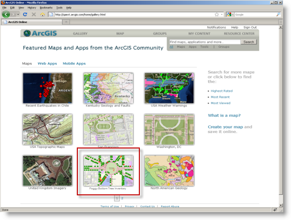 Web map sharing and discovery at ArcGIS.com