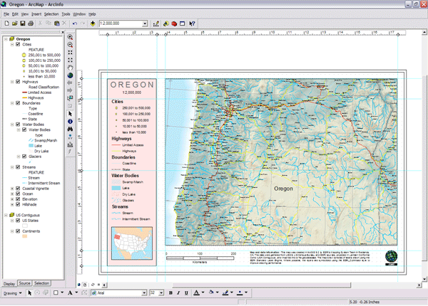 Map layers in a map of Oregon.