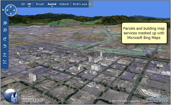 Parcels for Riverside County, California, mashed up with Microsoft Bing™ Maps