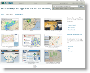 Gallery of Web applications at ArcGIS.com