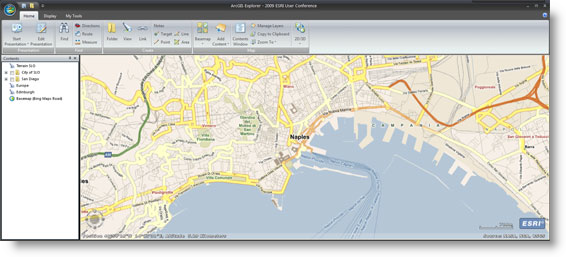 An example of an ArcGIS Explorer map