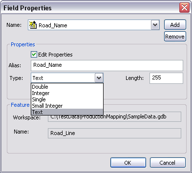 Field Properties dialog box with Edit Properties checked
