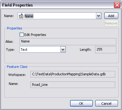 Field Properties dialog box