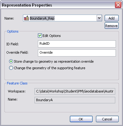 Representation Properties dialog box