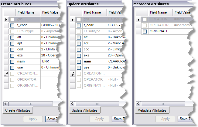 The Create Attributes, Update Attributes, and Metadata Attributes windows