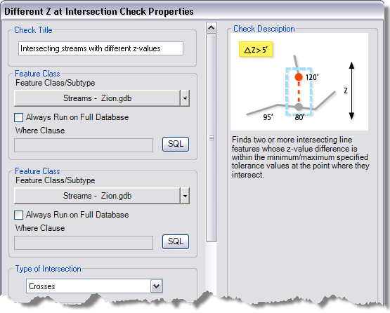 Different Z at Intersection Check Properties dialog box