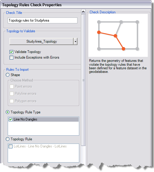 Topology Rules Check Properties dialog box