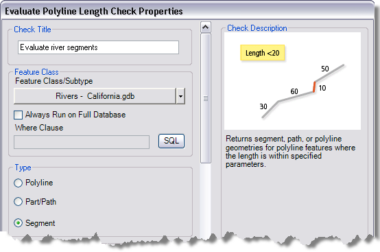 Evaluate Polyline Length Check Properties dialog box