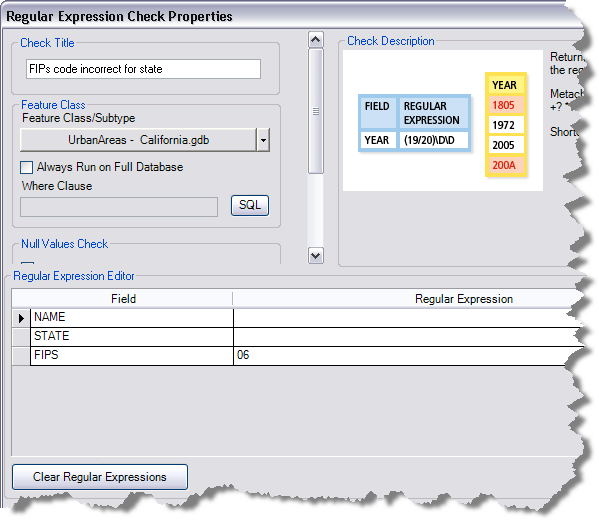 Regular Expression Check Properties dialog box