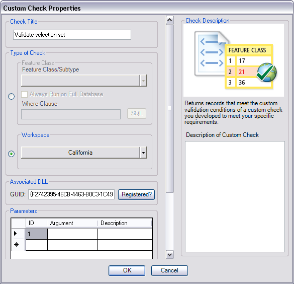 Custom Check Properties dialog box