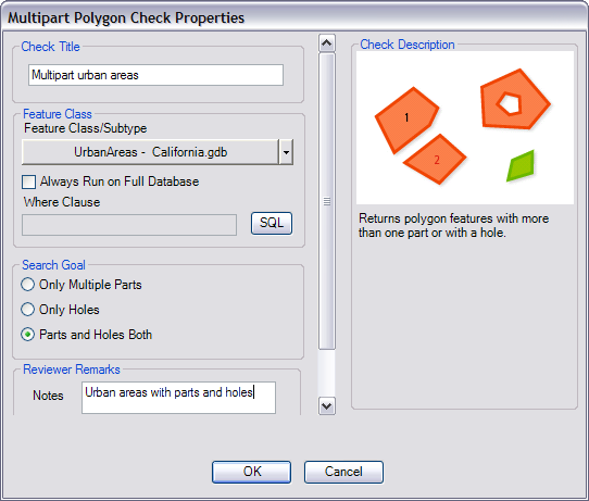 Multipart Polygon Check Properties dialog box
