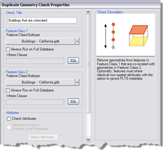 Duplicate Geometry Check Properties dialog box