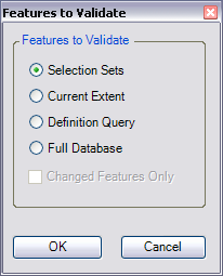 Features to Validate dialog box