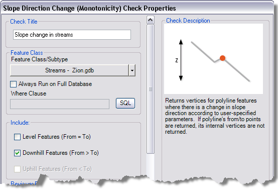 Slope Direction Change (Monotonicity) Check Properties dialog box
