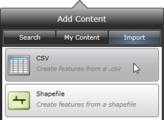 Add Content panel Import view