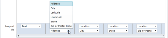 Options for importing location fields