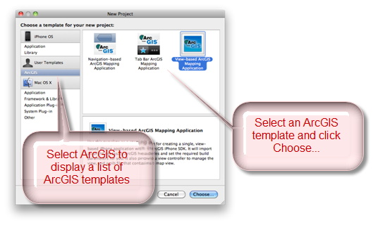 Choose ArcGIS Template