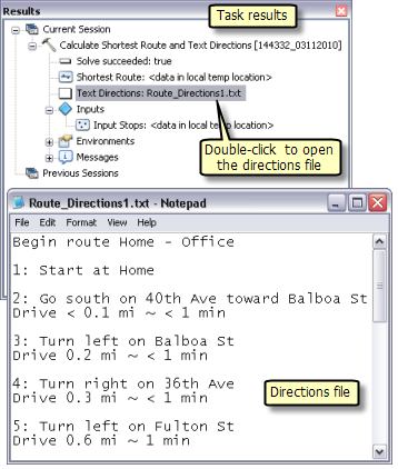 Viewing the directions file