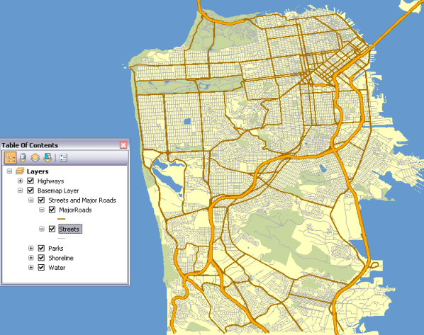 San Francisco basemap showing the network dataset extent