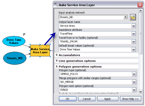 Make Service Area Layer tool parameters
