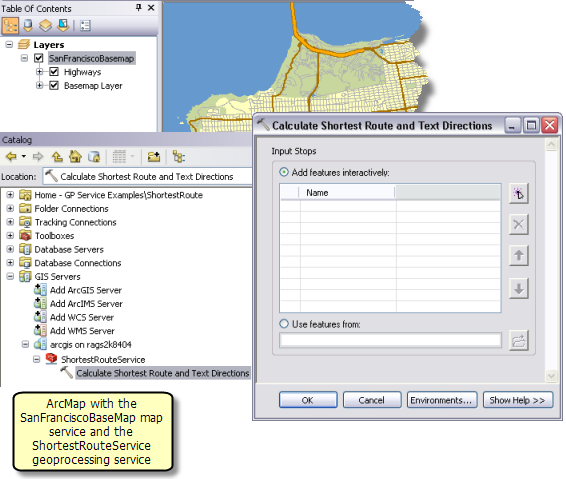 Calculate Shortest Route and Text Directions task in an ArcMap session