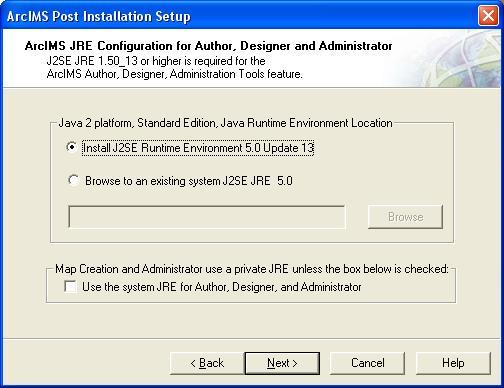 ArcIMS J2SE JRE configuration