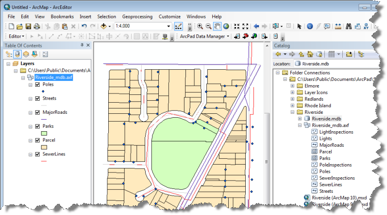 Riverside AXF displayed in ArcMap
