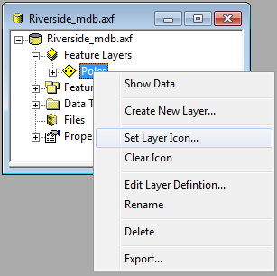 Screen shot showing the Set Layer Icon option.