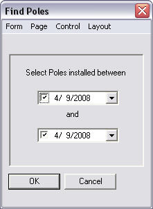 Screen shot showing the Find Poles Query form.