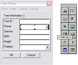 Screen shot showing the COMBOBOX controls and the Controls palette.