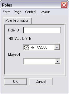 Screen shot showing the Poles form dialog box.