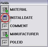 Screen shot showing the INSTALLDATE control on the Fields palette.
