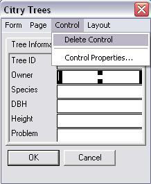 Screen shot showing the Delete Control option.