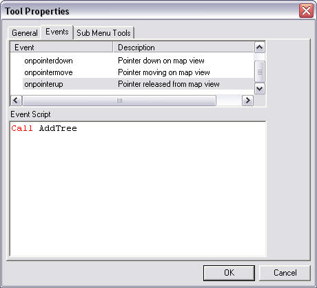 Screen shot showing the Event Script area on the Tool Properties dialog box.