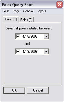 Screen shot showing the Poles Query form dialog box.