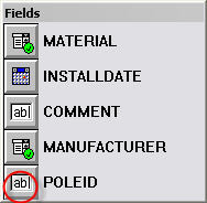 Screen shot showing the POLEID Edit control on the Fields palette.