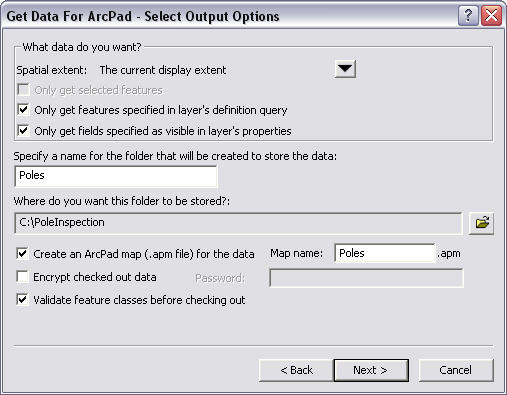 Screen shot showing the Get Data For ArcPad - Select Output Options dialog box.