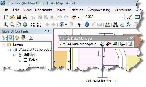 Screen shot showing ArcPad Data Manager toolbar in ArcMap.