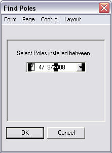 Screen shot showing the Find Poles form.