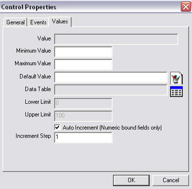 Screen shot showing the Control Properties dialog box.