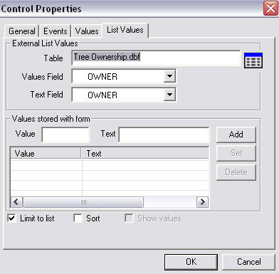 Screen shot showing Control Properties dialog box.