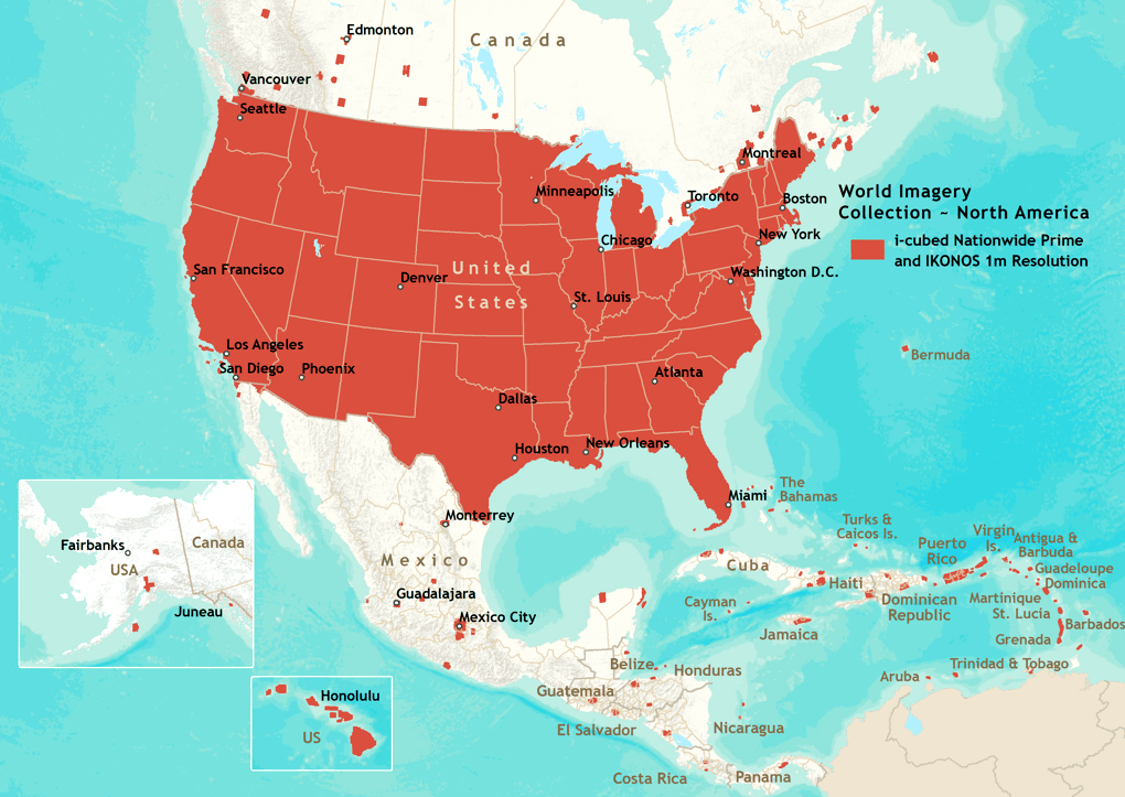 World Imagery North America Coverage Map